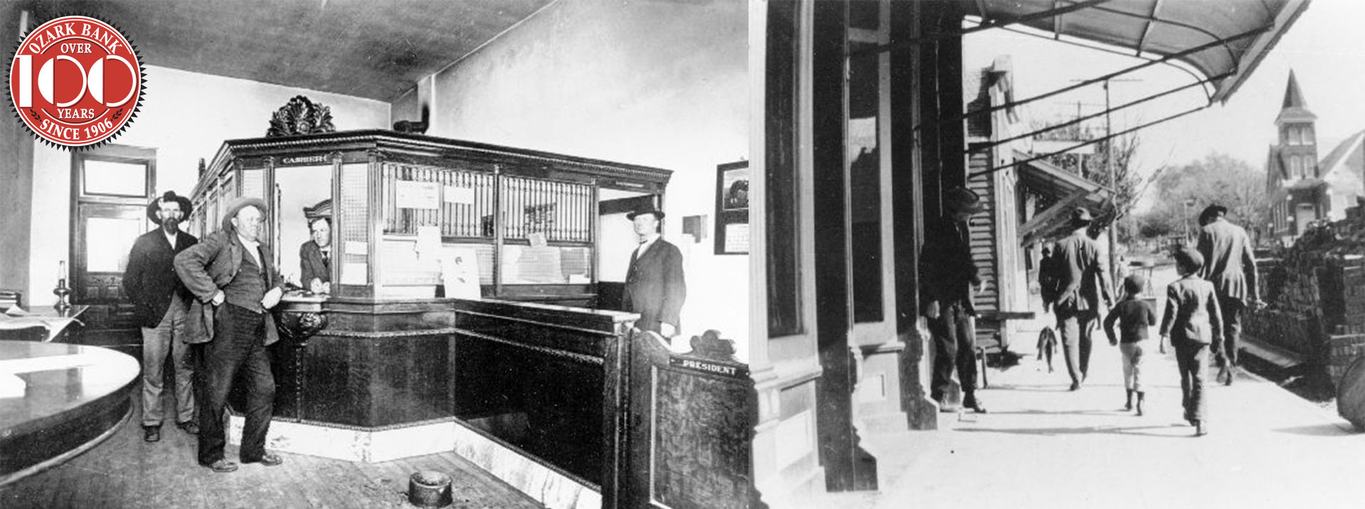 Ozark Bank historical image with bank interior and street