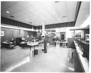 Historic Ozark Bank lobby in the late 1960s